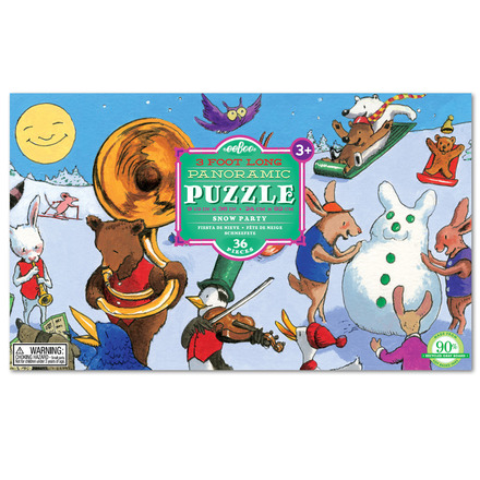 Snow Party Panoramic 36 Piece Puzzle picture