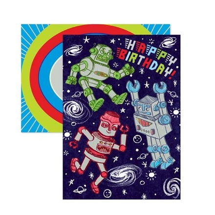 Silver Robots Birthday Card picture