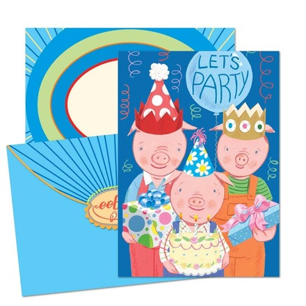 3 Little Pigs Birthday Card picture