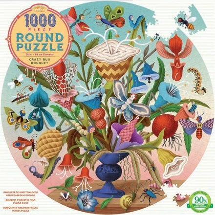 1000 Piece Round Crazy Bug Bouquet Puzzle picture