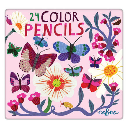 Butterflies and Flowers 24 Color Pencils Tin picture