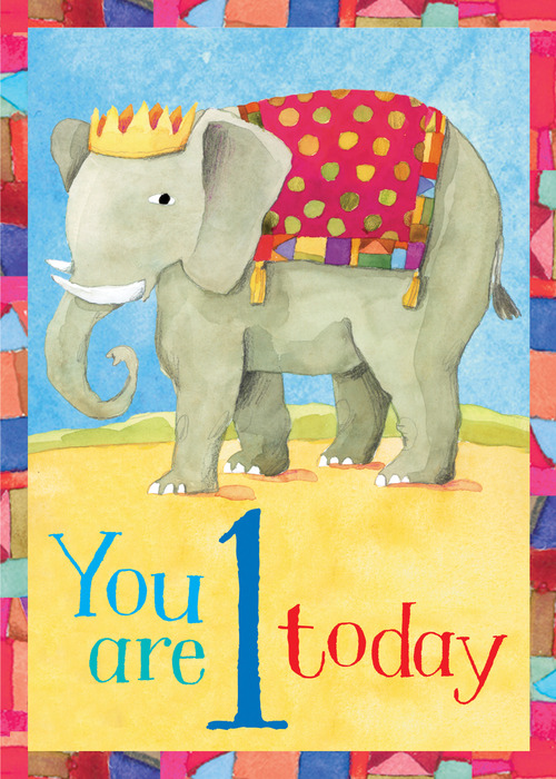 Elephant 1 Birthday Card Eeboo