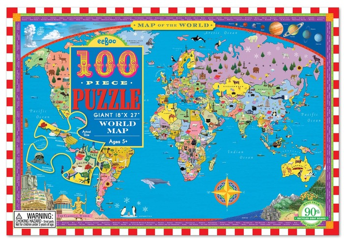 World map 100 piece puzzle eeboo additional images gumiabroncs Image collections