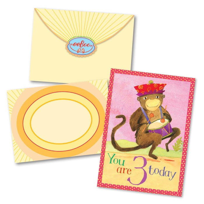 Monkey 3 Birthday Card Eeboo