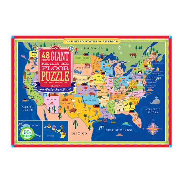 USA Map Giant Really Big Floor Puzzle eeBoo