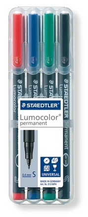 Lumocolor permanent universal pen, Supr-Fine set of 4 picture