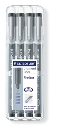 STAEDTLER pigment liner fineliner black, set of 4