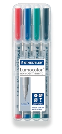 Lumocolor non-permanent universal pen, Supr-Fine set of 4 picture