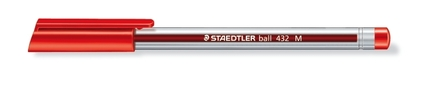 Ball 432 ballpoint pen, Medium red, box of 10