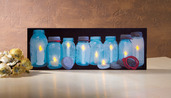 LIGHTED ROW OF CANNING JARS CANVAS