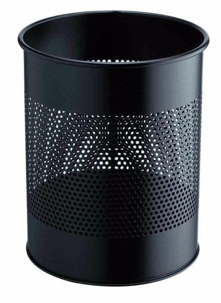 BIN Metal Round 15 litre bin with 165mm perforated ring, Black picture