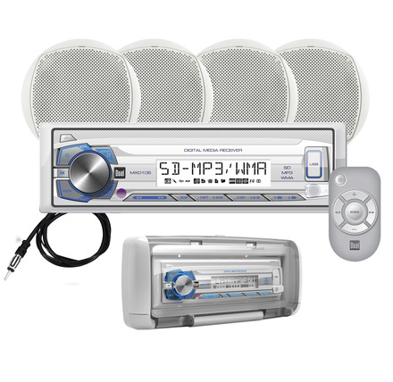 "MCP1054S - Marine Digital Media Reciever with Splashguard and  (4) 6.5"" Speakers picture"