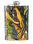 Stainless Steel Hip Flask - Estrada's - Brown Trout Graffiti - 8oz