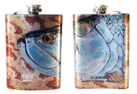 Stainless Steel Hip Flask - Udesen's Tarpon Head Desert Camo 8oz picture