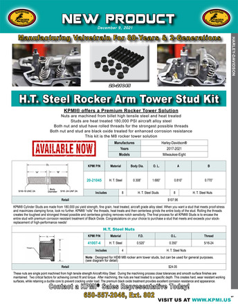 H.T. Steel Rocker Arm Tower Stud Kit flyer for Harley-Davidson® Milwaukee-Eight™ 2017-2019 picture