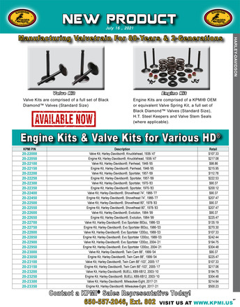 Engine and Valve Kit flyer for Various Harley-Davidson® Applications picture