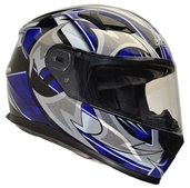 Vega Ultra Full Face Helmet (Blue Shuriken, Medium)