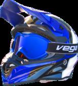 Vega Off Road Blue Goggles w/ Blue Lens