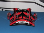 Vega Mojave off road helmet replacement visor in the Red Blade graphic