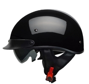 Rebel Warrior Gloss Black Half Helmet XS