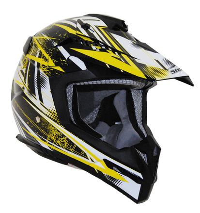 Stealth Flyte off road helmet in the graphic (Yellow Blitz, Large) picture