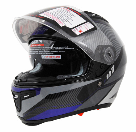 Stealth F117 full face helmet in Dark Blue Graphic size Medium picture