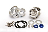 "230117S CNC Alu. 1.9""  beadlock ring Wheels Set (Silver) W/ Brake Disc  / Stainless Screws"