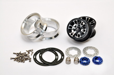 """230117B CNC Alu. 1.9""""  beadlock ring Wheels Set (Black) W/ Brake Disc / Stainless Screws picture"""