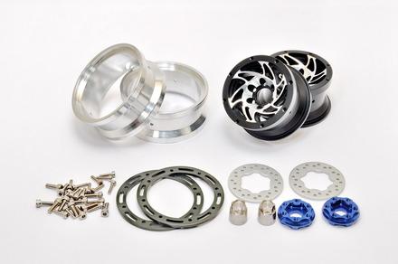 """230118B CNC Alu. 1.9""""  beadlock ring Wheels Set (Black) W/ Brake Disc  / Stainless Screws picture"""