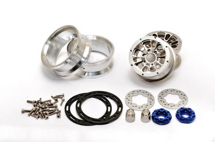 "230117S CNC Alu. 1.9""  beadlock ring Wheels Set (Silver) W/ Brake Disc  / Stainless Screws picture"