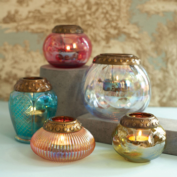 Set of 5 Iridescent Tea light CandleHolders with Metal Rim picture