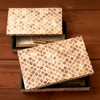 Set of 2 Bone and Wood Mosaic Boxes