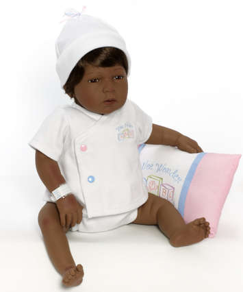 Newborn Nursery Baby Doll - Sleepy Head - Dark Skin, Brown Hair, Brown Eyes picture