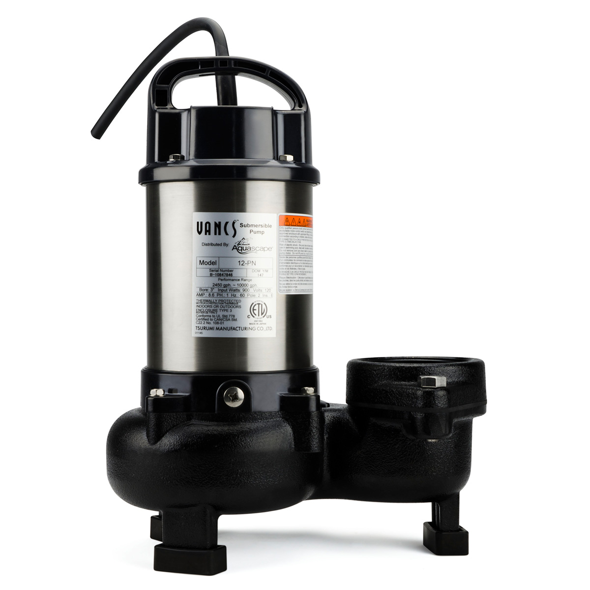 Aquascape Tsurumi 12PN 10,000 GPH Pump for Pond Waterfall ...