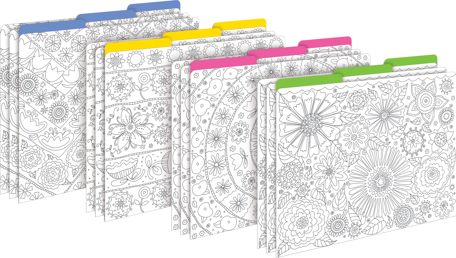 Color Me! In My Garden File Folders w/color pencils