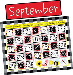 NEW! Buffalo Plaid & Wide Stripes Calendar Chart Set picture