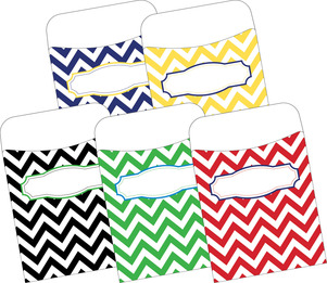Peel & Stick! Chevron - Nautical  Library Pockets picture