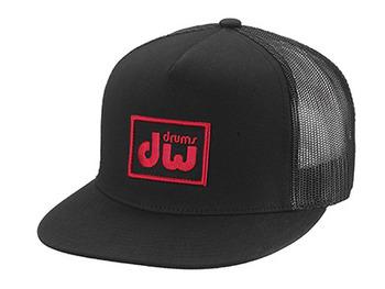PR10HAT13 - DW LOGO TRUCKER HAT, BLACK W/ RED LOGO picture