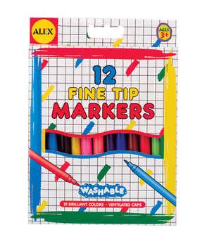 可水洗细头水彩笔:儿童专用安全且易于清洗(美国alex品牌文具)