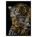 GOLMIN-103 - LEOPARD IN TREE GOLD MINI ENGRAVING ART