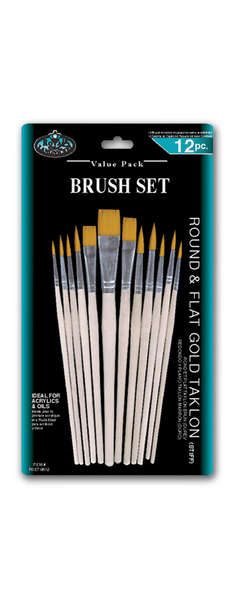 RSET-9612 - 12PC GOLD TAKLON BRUSH SET picture