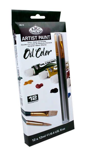 OIL12 - 12 ML Oil Paint 12 Pk W/Brushe picture