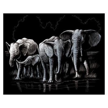 SILF40 - SILVER ENGRAVING ELEPHANT HERD picture