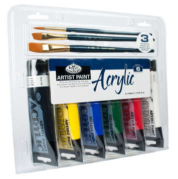 ACR120-6B - 120 ML Acrylic Paint 6 Pack w/ 3 Brushes picture