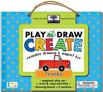 green start play, draw, create: trucks