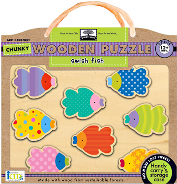 green start™ chunky wooden puzzles: swish fish picture