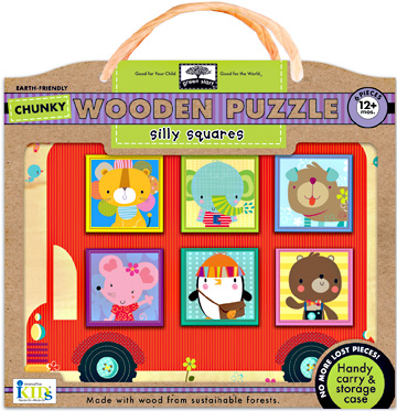 green start&#8482; chunky wooden puzzles: silly squares picture