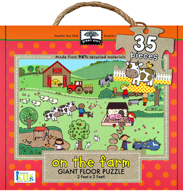 green start giant floor puzzles: on the farm picture
