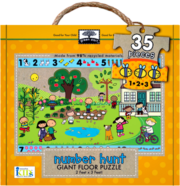 green start giant floor puzzles: number hunt picture