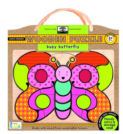 green start wooden puzzles: busy butterfly picture